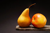 Fruit Still Life - pear and apple.
