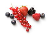Fruit: Strawberry, Raspberry, Blueberry, Blackberry and Red Currant Isolated on White Background