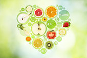 Fruit symbols in hearth shape on green background, diet concept