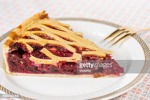 Fruit Tart Pie Slice on White Plate : Stock Photo