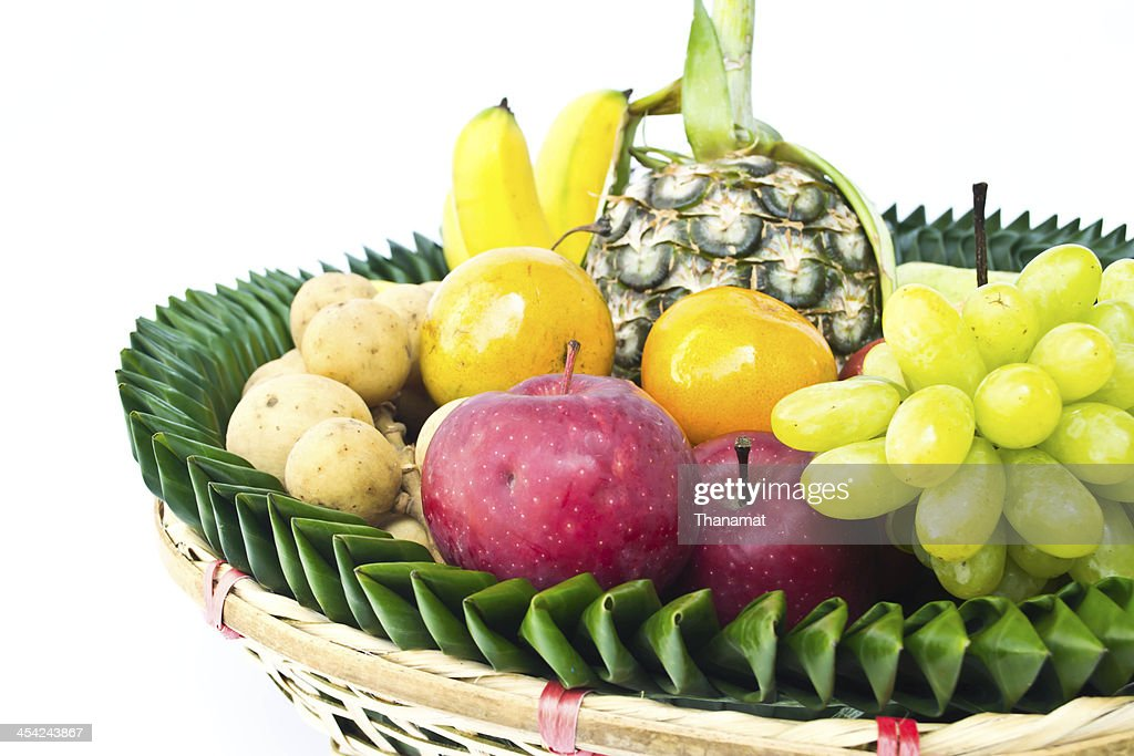 Fruit tray on a white background : Stock Photo