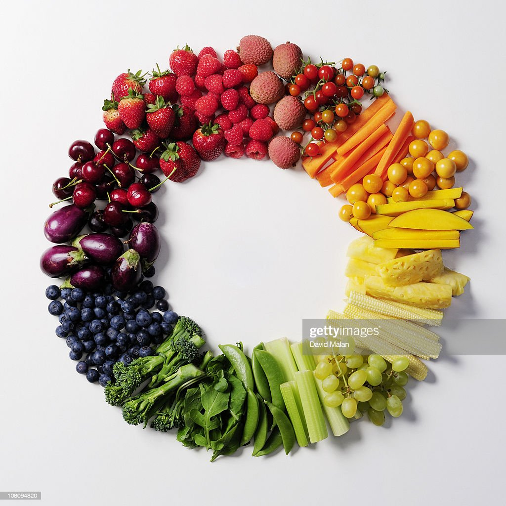Fruit & vegetable color wheel. : Stock Photo