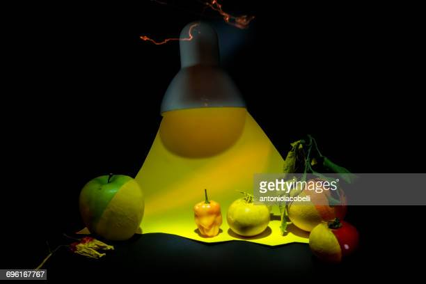 Fruit, vegetables and yellow light