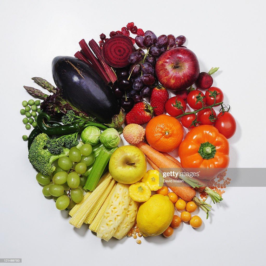 fruit & vegetables pie chart/colour wheel : Stock Photo