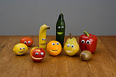 Fruit with anthropomorphic faces