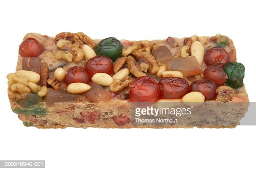 Fruitcake, elevated view