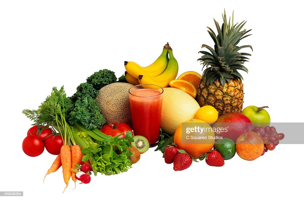 Fruits and Vegetables Around Glass of Juice : Stock Photo