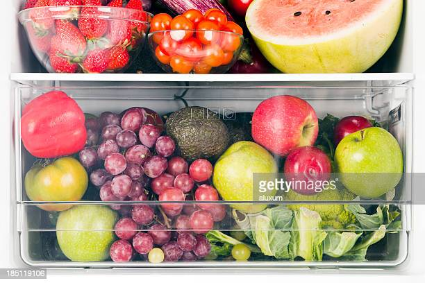 Fruits and vegetables inside fridge
