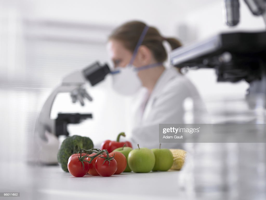 Fruits and vegetables next to scientist using microscope : Stock Photo