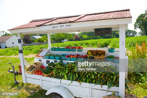 Fruits and vegetables on farm stand, Laurel, NY