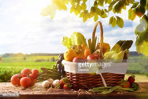 Fruits and vegetables on table and crop landscape background : Stock Photo