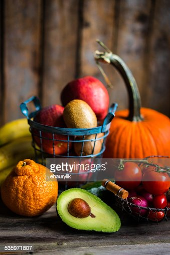 Fruits and vegetables on wooden background : Stock Photo