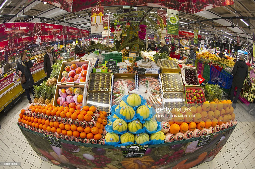 Fruits are displaye at a supermarket on December 21, 2012 in Montesson, near Paris, a few days ahead of Christmas.