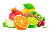 Fruits isolated on white background with clipping path