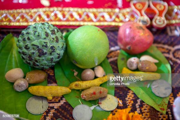 Fruits offering for pooja, India, Asia