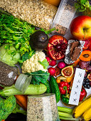 fruits, vegetables rich in antioxidants vitamins fiber. Healthy clean and detox food superfoods