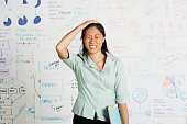Frustrated Asian businesswoman in front of whiteboard