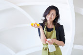 Frustrated, Exhausted Asian Housewife Cleaning, Japanese Woman Doing Housekeeping Chores