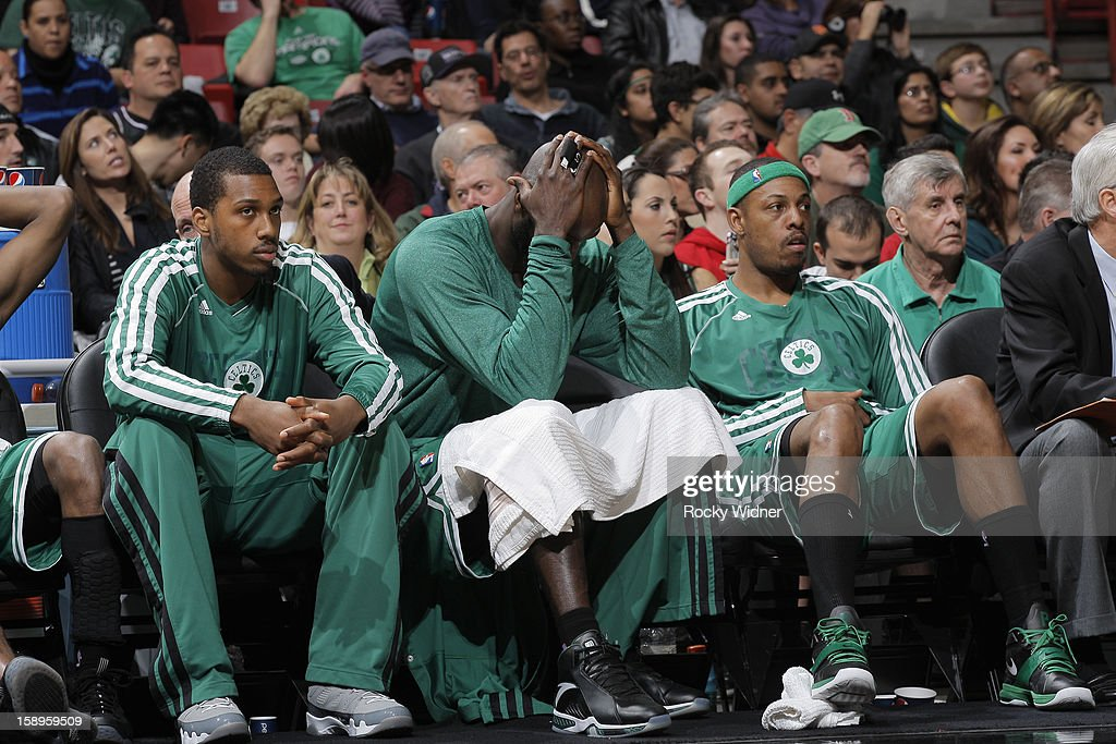 A frustrated <a gi-track='captionPersonalityLinkClicked' href=/galleries/search?phrase=Kevin+Garnett&family=editorial&specificpeople=201473 ng-click='$event.stopPropagation()'>Kevin Garnett</a> #5 of the Boston Celtics during the game against the Sacramento Kings on December 30, 2012 at Sleep Train Arena in Sacramento, California.
