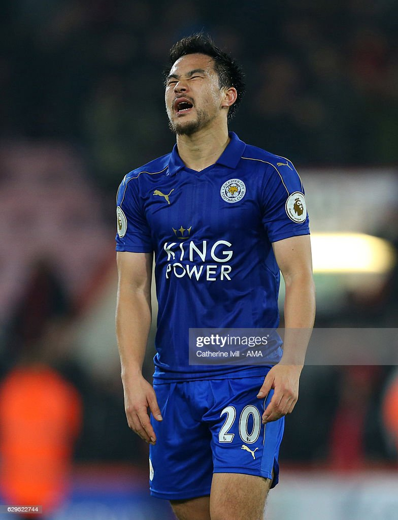 A frustrated looking Shinji Okazaki of Leicester City during the Premier League match between AFC Bournemouth and Leicester City at Vitality Stadium on December 13, 2016 in Bournemouth, England.