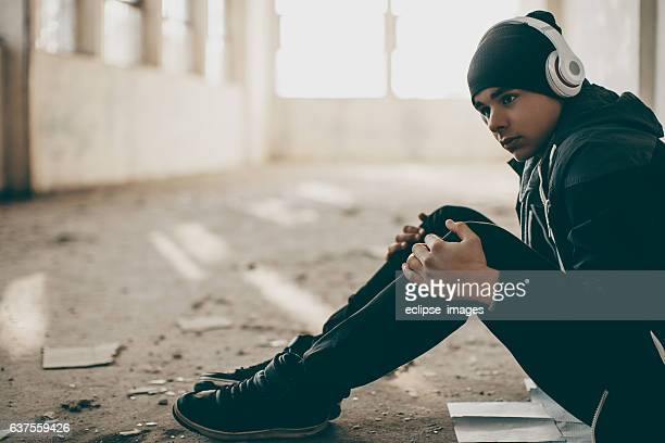 Frustrated man listening to music