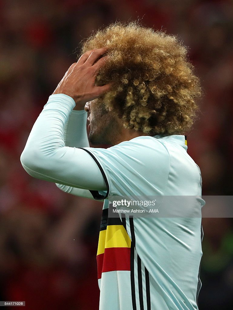A frustrated Marouane Fellaini of Belgium during the UEFA Euro 2016 quarter final match between Wales and Belgium at Stade Pierre-Mauroy on July 1, 2016 in Lille, France.
