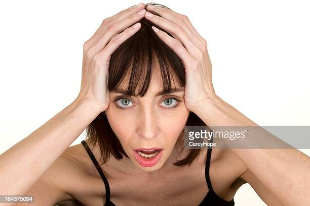 frustrated mid adult woman