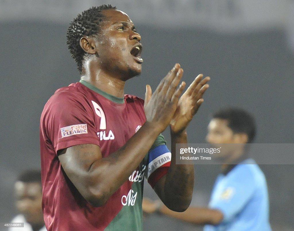 Frustrated Odafa of Mohun Bagan after missing a chance against Mohammedan Sporting during their I-League match at Yuba Bharati Krirangan, Salt Lake City on November 27, 2013 in Kolkata India.