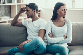 Frustrated young couple quarreled. Family quarrel. Household squabble