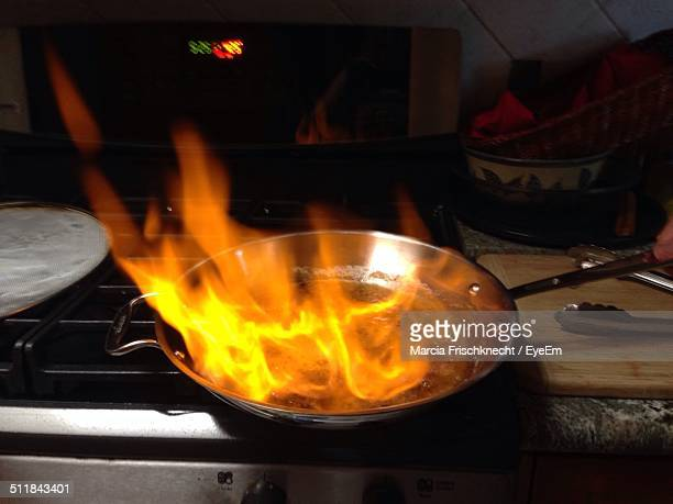 Frying pan on fire