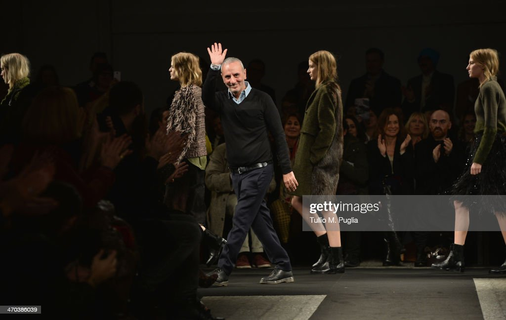 Fshion designer Alessandro dell'Acqua walks the runway after the N 21 fashion show during Milan Fashion Week Womenswear Autumn/Winter 2014 on February 19, 2014 in Milan, Italy.