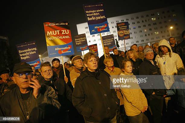 FSupporters of the AfD political party listen to speeches at an AfD rally attended by AfD Chairwoman Frauke Petry on October 29 2015 in Dessau...