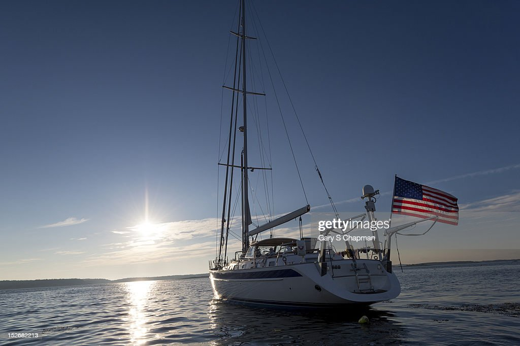 62 ft sailboat at anchor along Maine's coast : Stock Photo