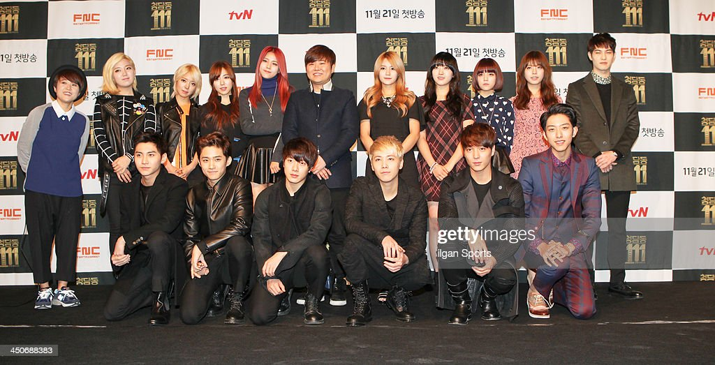 FTIsland CNBLUE AOA Han SungHo and JUNIEL attend the tvN 'Cheongdamdong 111' press conference at M CUBE on November 18 2013 in Seoul South Korea