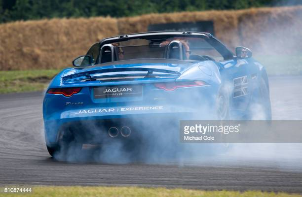 Type Jaguar drifting on 'The Jaguar Experience' circuit during the Goodwood festival of Speed at Goodwood on June 30th 2017 in Chichester England