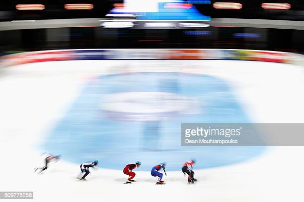 Fu Xu of China competes in the Mens 1000m heats during ISU Short Track Speed Skating World Cup held at The Sportboulevard on February 12 2016 in...