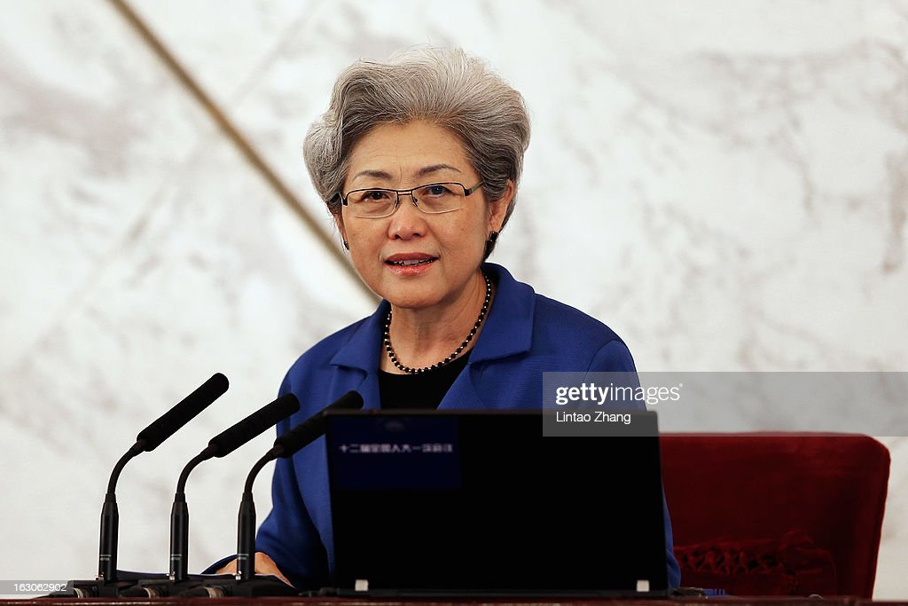 Fu Ying spokesperson of the National People's Congress arrives for a press conference at the Great Hall of the People on March 4, 2013 in Beijing, China. The NPC has the right to enact and amend the Constitution of the People's Republic of China, and to enact and amend basic laws concerning criminal offenses, civil affairs, State organs, and other matters.