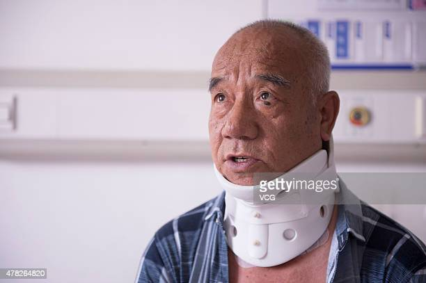 Fu Zuohua is examined after his surgery at the Second Hospital of Jilin University on June 23 2015 in Changchun China Fu age 66 has cervical vertebra...