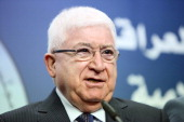 Fuad Masum the new president of Iraq and a veteran Kurdish politician speaks during a press conference in Baghdad on July 24 after he was elected by...