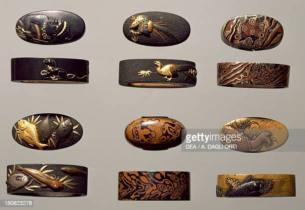 Fuchikashira set in shakudo shibuchi copper foil pastes etc Japan Japanese Civilisation 18th19th century