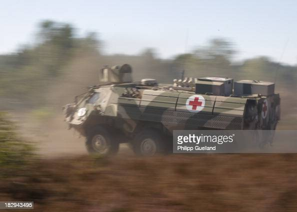 Fuchs Armoured vehicle in medical configuration is seen during the annual military exercises held for the media at the Bergen military training...