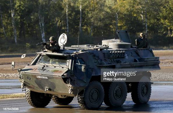 Fuchs Armoured vehicle is seen during the annual military exercises held for the media at the Bergen military training grounds on October 2 2013 near...