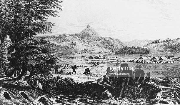 Fuegians at Woollya with the Fitzroy expedition's camp in the background 1831 From Robert Fitzroy's Narrative of the Surveying Voyages of His...