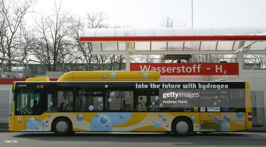 A fuel cell bus fills up with fuel at a hydrogen filling station on March 23, 2007 in Berlin, Germany. The use of diesel or gasoline in internal combustion engines leads to carbondioxyde (CO2 ) emissions and the release of pollutants. Hydrogen, on the other hand, constitutes an environmentally benign energy carrier since its consumption in fuel cells results in the mere emission of water vapour.