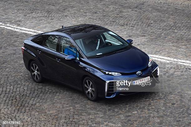 Fuel cell vehicle driving on the street