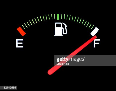 Fuel gauge indicating the gas tank is full