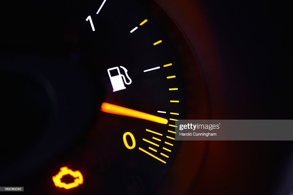 A fuel gauge is seen during the 83rd Geneva Motor Show on March 6, 2013 in Geneva, Switzerland. Held annually with more than 130 product premiers from the auto industry unveiled this year, the Geneva Motor Show is one of the world's five most important auto shows.