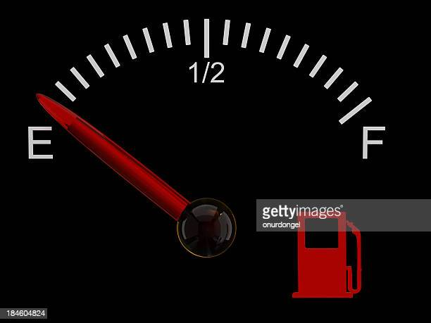 Fuel gauge showing that the tank is on empty