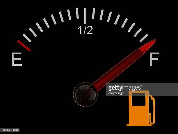 Fuel gauge with red needle at full