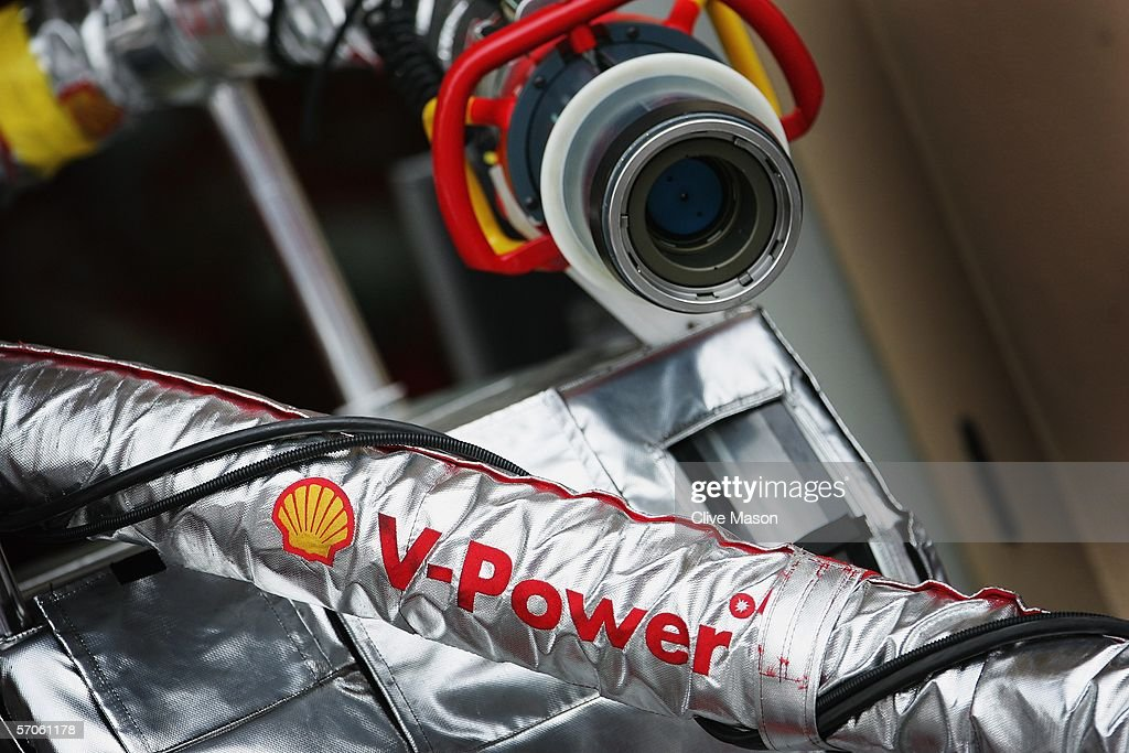 A fuel hose is seen in the Ferrari pit after qualifying for the Bahrain Formula One Grand Prix at the Bahrain International Circuit on March 11 2006...